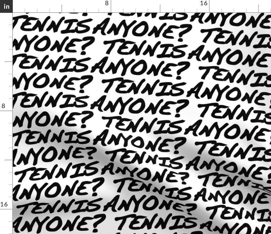 Spoonflower Fabric - Tennis Typography 2021 model Austin Mall Sports Black Sport White