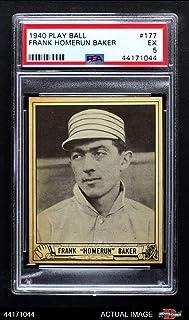 1940 Play Ball # 177 Home Run Baker Philadelphia Athletics (Baseball Card) PSA 5 - EX Athletics