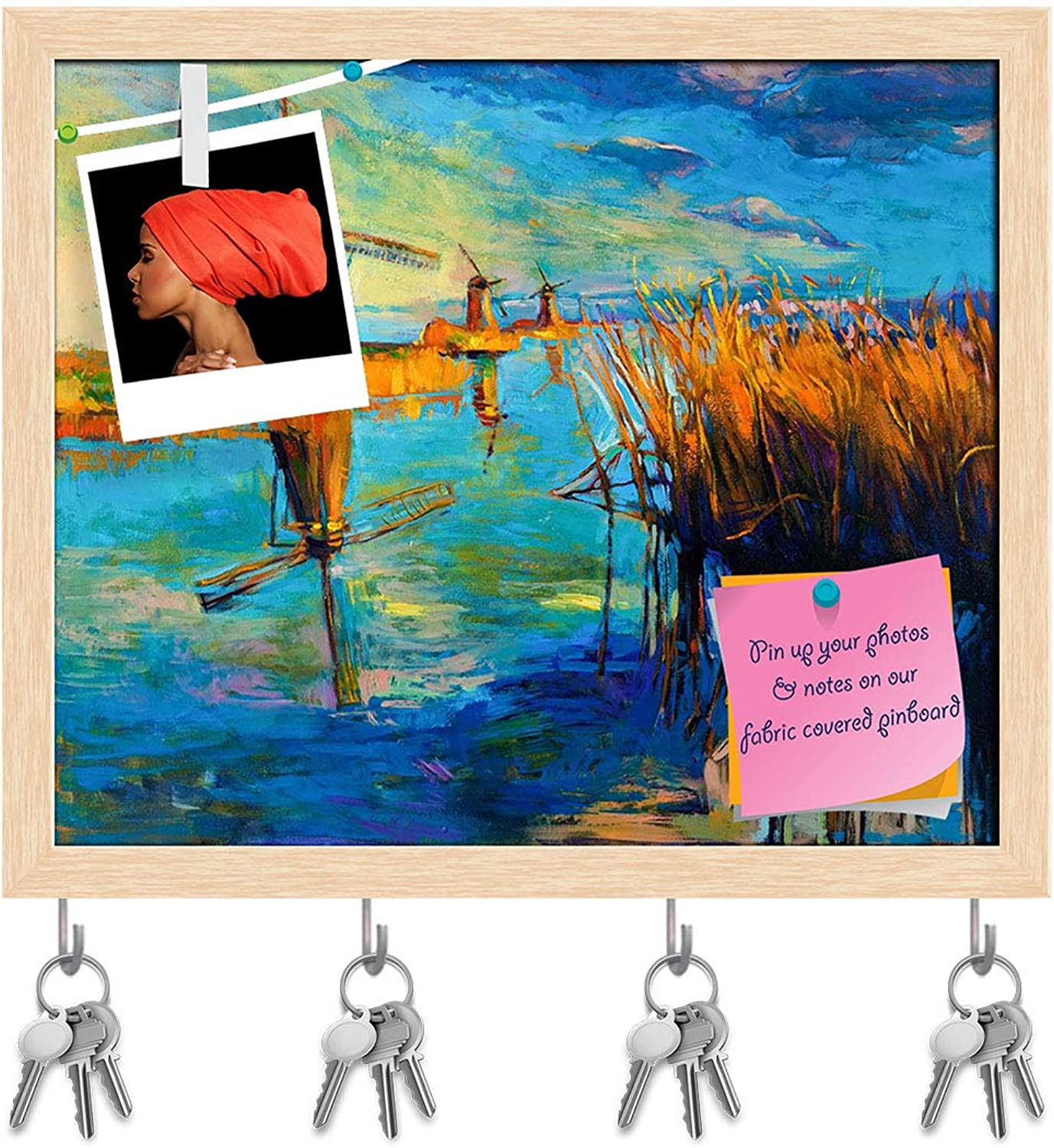 Artzfolio Beautiful Lake Sunset Landscape D2 Key Holder Hooks   Notice Pin Board   Natural Brown Frame 19 X 16Inch