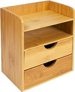 Petite armoire de rangement pour bureau Woodluv - 2 étagères et 2 tiroirs - Pour fournitures de bureau