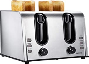 NOVETE Toaster 4 Slice, 1.5'' Extra-Wide Slot Toaster, Retro Stainless Steel Toaster, 7 Shade Settings, Defrost/Reheat/Cancel Functions, Removable Crumb Tray, Bread Toaster for Breads/Bagels/Waffles