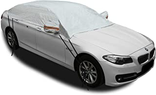 "Kadooria Safe View Half Car Cover Top Waterproof/Windproof/Dustproof/Windshield Cover Snow Winter Summer (Sedan 3XL(185""-2..."