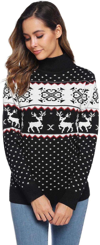 Abollria Maglione da Donna per Natale Maglie a Maniche Lunghe per Autunno Inverno Pullover Maglione Maglie con Stampa di Fiocchi Pupazzo di Neve per Natale