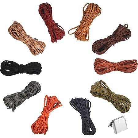 1M Rund Leder Seil Kordel Armband Halskette Band DIY Basteln 3mm Mehrfarbig