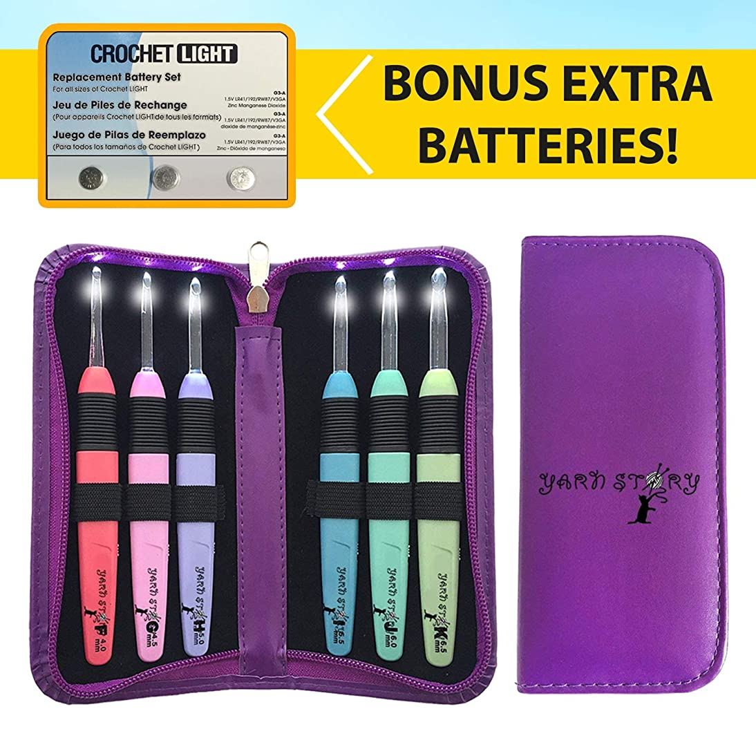 Lighted Crochet Hooks and Case with Replacement Batteries - LED Lite Hooks - Ergonomic Grip Handles & Organizer. Color Coded Illuminated 6 Hooks for Arthritic Hands - Size 4mm To 6,5mm (PURPLE)