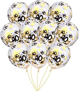 MeySimon 40th Birthday Decorations 15pcs Clear Balloons with Gold Confetti Filled Printed 40 Latex Balloon for Happy 40 Year Old Birthday Party Favor (40th Confetti)