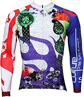 Men Patterns Breathable Long Sleeve Biking Cycling Jersey Top Blue 4XL