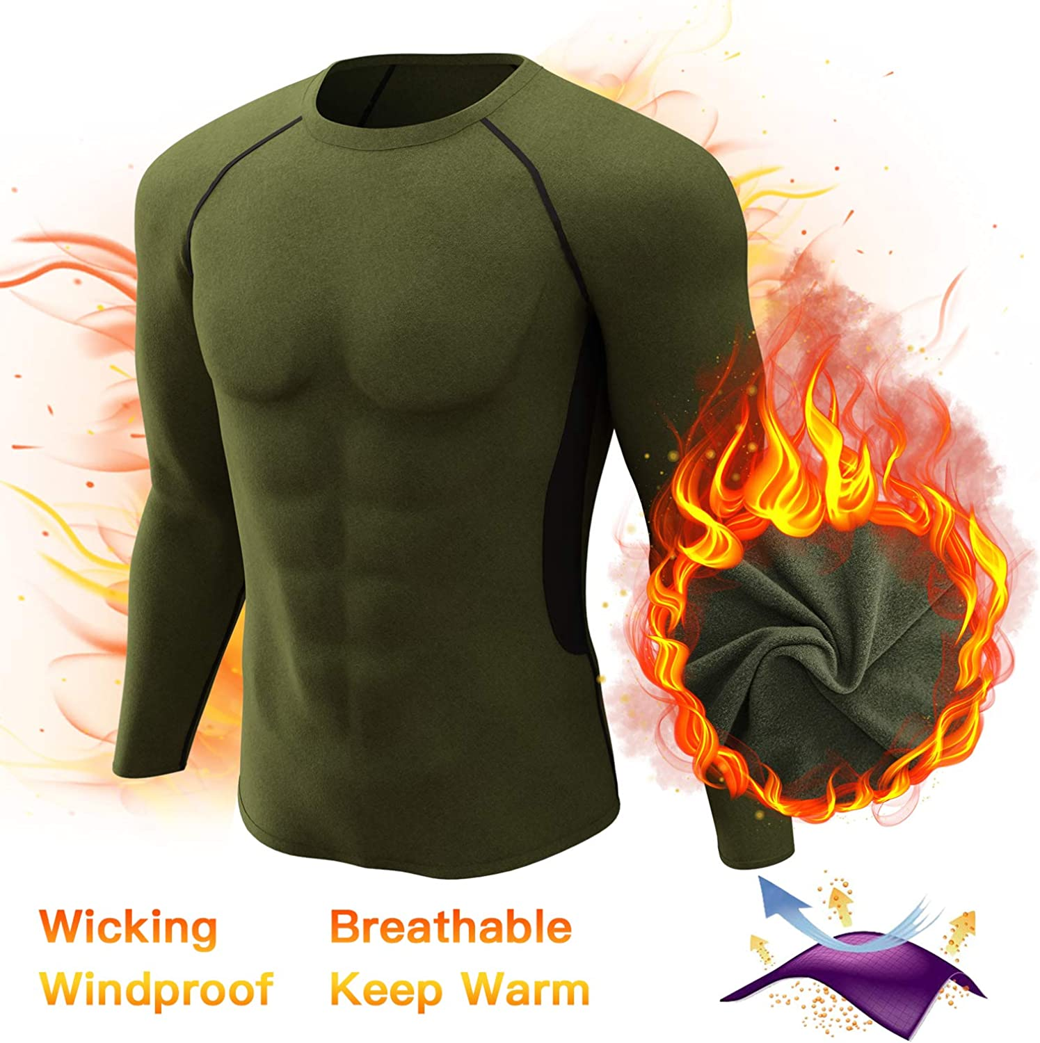 Mens Thermal Underwear Tops Fleece Lined Base Layer Long Sleeve Shirts Army Green L Style 2
