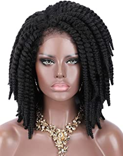Kalyss Short 100% Hand Braided Jamaican Jumbo Twist Braided Synthetic Lace Front Wigs for Women Side Parted Lightweight Braiding Hair Havana Mabo Twist Braids Lace Frontal Wigs with Baby Hairs
