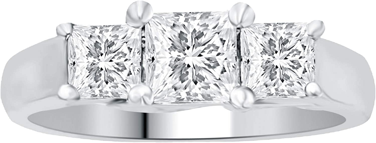 La4ve Diamonds 1.00 Carat 3 Stone Princess Diamond Promise Ring In 14K White Gold. (Color - H-I) (Clarity I2-I3)   Real Diamond Wedding Band For Women   Gift Box Included