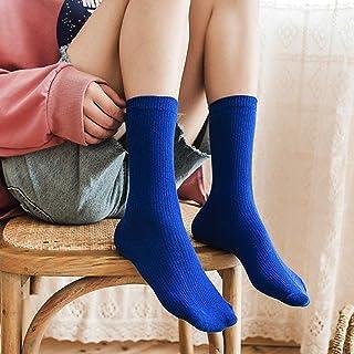 zhoujie, ZHOUJIE Niñas Calcetines Altos Calcetines Sueltos Color sólido de Doble Aguja de Punto Medias de algodón Puro 6 Pares de Mujeres-Azul_F