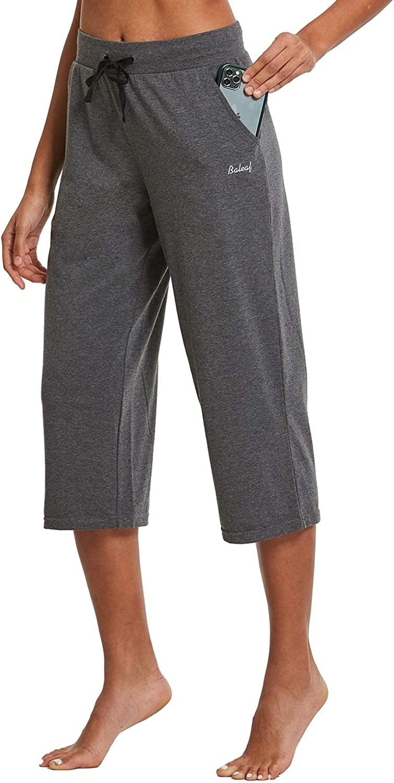 BALEAF Womens 20 Active Lightweight Yoga Lounge Indoor Pajama Jersey Capri Pocketed Walking Pants