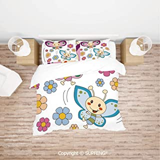 SCOXIXI Bed Cover Set Lilac and Blue Baby Kid Butterflies Flying Between Spring Flowers Cheerful Nature Decorative (Comforter Not Included) Soft, Breathable, Hypoallergenic, Fade Resistant
