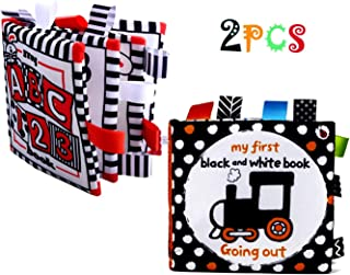 2 My First Black and White Books Soft and High Contrast Toys for Tummy time 0 - 12 Months, Activity Cloth Books Touch and ...