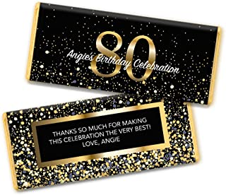 Milestone 80th Birthday Favors Personalized Chocolate Bar Wrappers (25 Count)