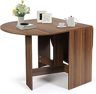 GOPLUS Table de Salle à Manger Pliable, Table de Cuisine, 3 Formes, Table Multifonctionnelle pour 4-6 Personnes, Charge Ma...