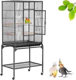 Yaheetech Jaula Grande para Pájaros Pajarera Metálica con Soporte Ruedas Pie para Aves Loros Canarios Mascota 136 cm