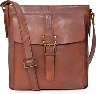 Ashwood Cross Body Bag - Kindle iPad Tablet - A5 Mid-Size - Shoulder Messenger Work Travel Bag - Genuine Leather - 7994 - Tan