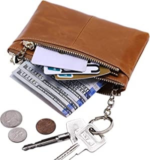 Itslife RFID BLOCKING Triple Zipper Leather Mini Coin Purse Card Holder with Key Chain Camel