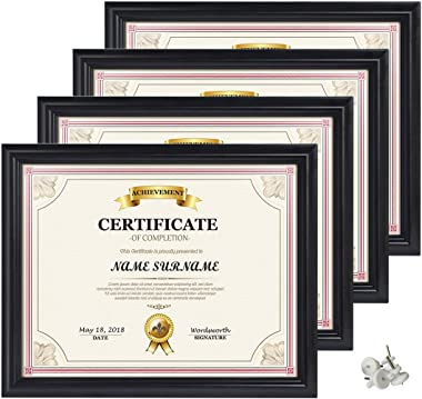 Calenzana 8.5x11 Certificate Document Diploma Frame, Black Picture Frames 8.5 x 11 for Wall and Tabletop Display, 4 Pack
