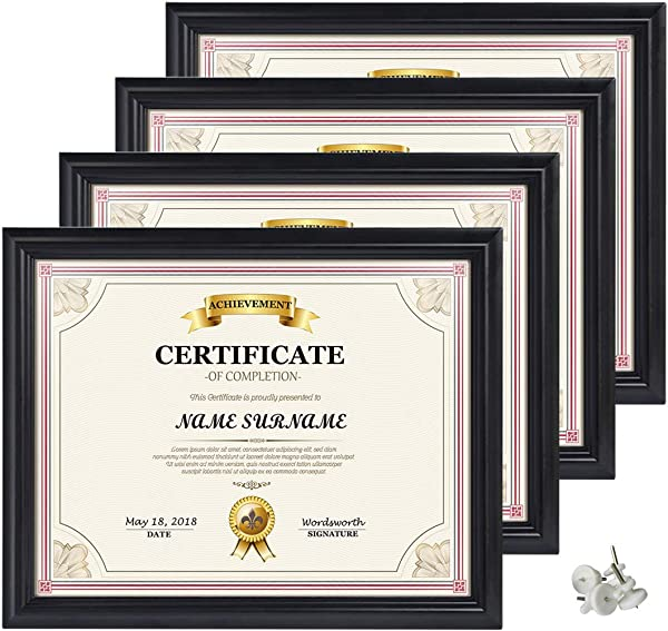 Artsay 8 5x11 Document Certificate Diploma Frame Black Picture Frames 8 5 X 11 Wall And Tabletop Display 4 Pack