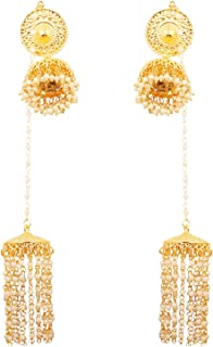Indian Bollywood Faux Pearls Hangings Exclusive Kashmere Traditional Grand Designer Jewelry Chandelier Jhumki Earrings for Women in Gold Tone.