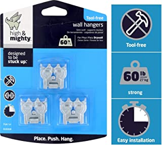 High & Mighty 515316 Tool Free Picture Hanger, 2 Pieces 60LB Limit, Silver
