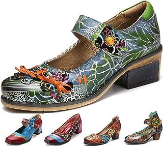3b791a0c gracosy Cuero Zapatos de Tacón Medio de Mujer, Verano Primavera Fabricados  a Mano con un