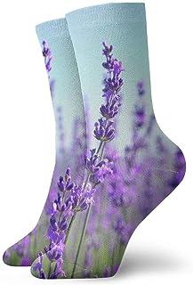 tyui7, Primer plano de inclinación de flores de lavanda Campo de lavanda Calcetines de compresión antideslizantes Calcetines deportivos acogedores de 30 cm para hombres, mujeres y niños