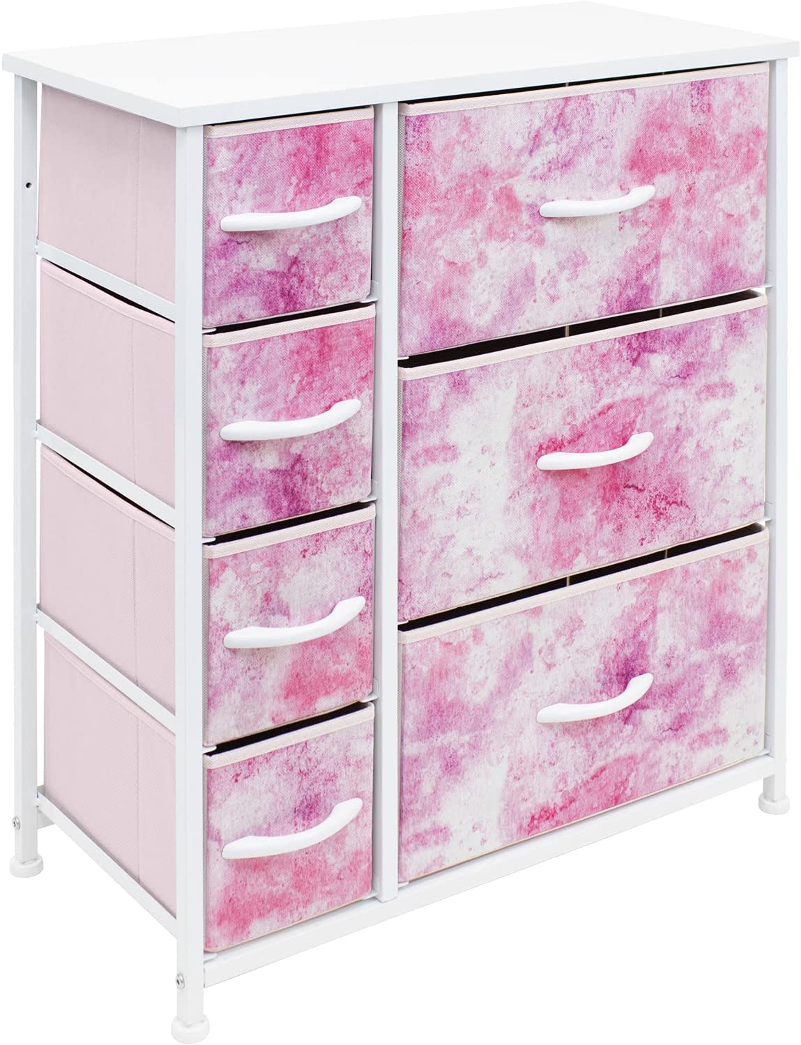 Sorbus Dresser Organizer,for Kids - Boys & Girls Bedroom Organization, Baby Dresser - Clothing Organizer, Storage Drawers for Toys - Steel Frame, Wood Top, Fabric, (7-Drawer, Pastel Tie-dye Pink)