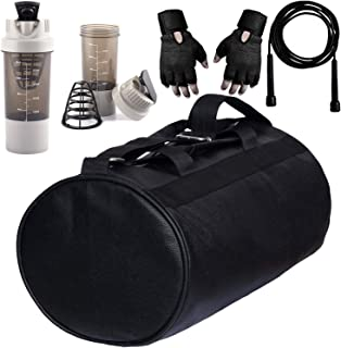 5 O' CLOCK SPORTS Black Leather Gym Bag Gloves White Cyclone Shaker Combo Pack