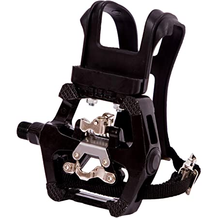 """COZYROOMY SPD pedals - Hybrid pedal with clips and straps, Suitable for indoor exercise bikes, Spin Bike and all bikes with 9/16"""" axles. 6 Month Warranty."""