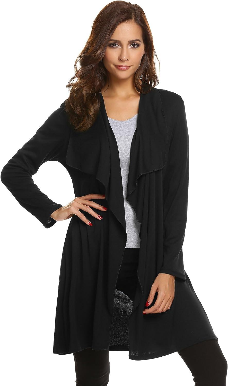 ELESOL Women's Lightweight Long Sleeve Draped Open Front Mid Length Cardigans Sweaters