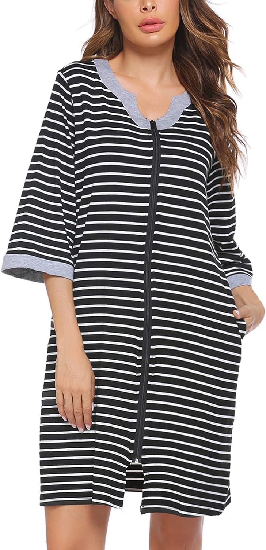 Hotouch Cotton Nightgown Women Zipper Front Sleepshirt with Pocket 3//4 Sleeve Nightshirt Striped Lounge Soft Sleepwear