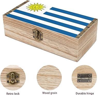 Uruguay Flag Storage box wooden daily necessities business card souvenir jewelry retro