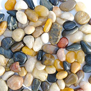 SACKORANGE 2 LB Aquarium Gravel River Rock - Natural Polished Decorative Gravel, Small Decorative Pebbles, Mixed Color Stones,for Aquariums, Landscaping, Vase Fillers (32-Oz)