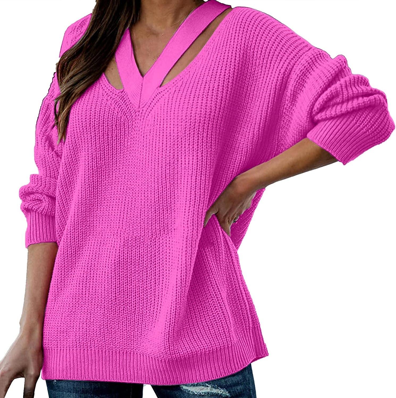 Women's Knit Long Sleeve Cold Shoulder Halter Neck Loose Sweater Top