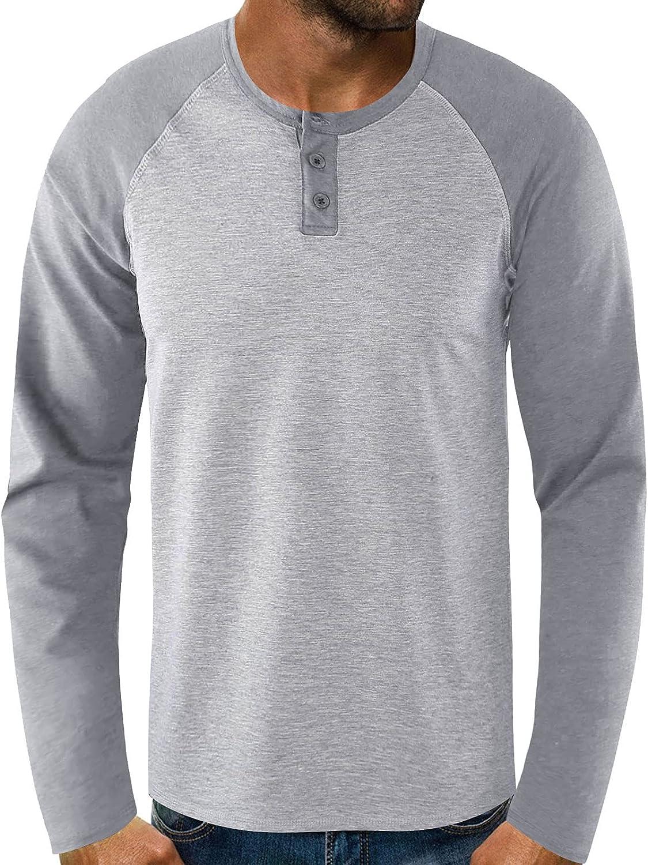 FUNEY Long Sleeve Shirts for Men Big & Tall Athletic Shirt Patchwork Cotton Lightweight Quick Dry Baseball Jersey T Shirts