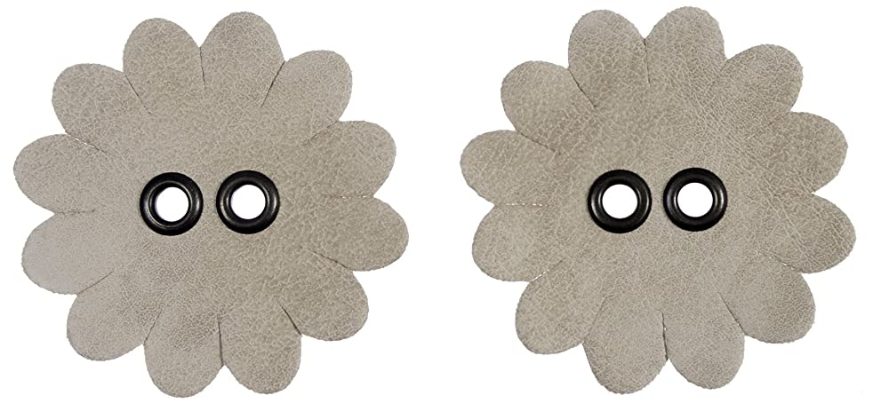 Mibo Sew On Faux Leather Flower Shape Applique 60mm (Diametre) Beige with Antique Brass Eyelets 2 Pack