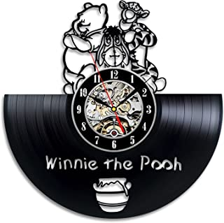 Winnie the Pooh Friends Vinyl Record Wall Clock - Decorate your home with Modern Large Disney Art - Gift for kids, girls and boys - Win a prize for a feedback