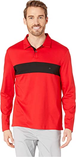 Long Sleeve Color Blocked Rugby Polo