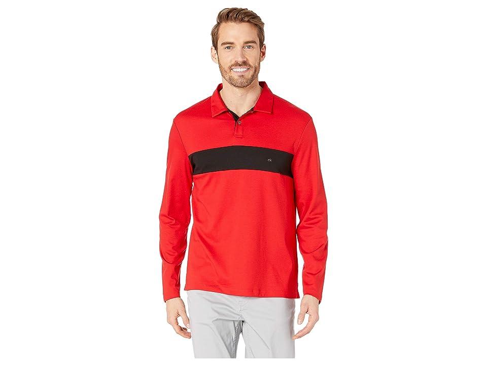 Calvin Klein Long Sleeve Color Blocked Rugby Polo (Deep Scarlet) Men