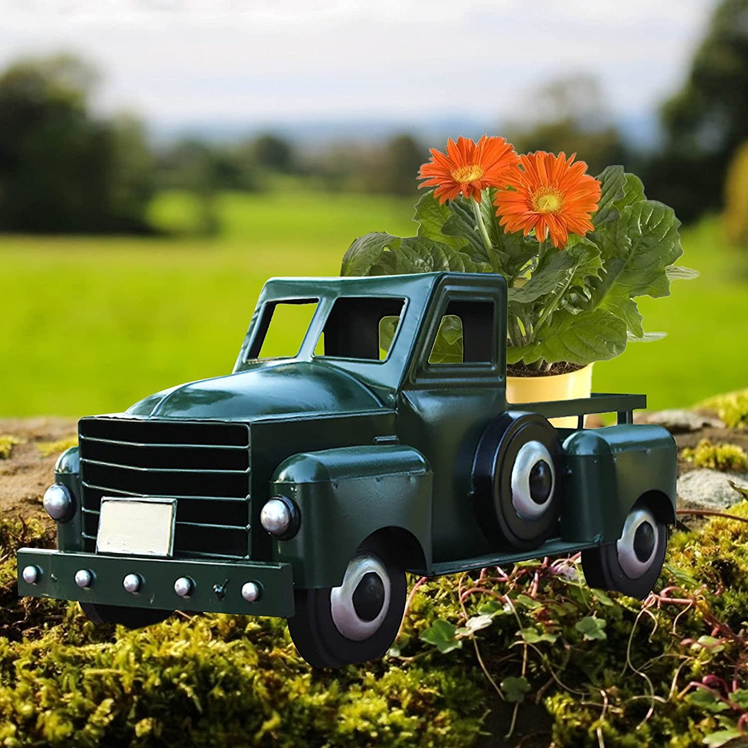 Beauty products Retro Style Solar Product Pickup Truck Garden Vintage Metal Decoration -