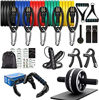 8-in-1 Resistance Bands Set Exercise Bands AB Wheel Roller with Knee Pad Push Up Bars Hand Grip Strengthener Adjustable Sk...