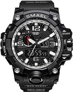 Meetloveyou Men Sports Watches Dual Display Analog Digital LED Electronic Quartz Wristwatches Waterproof Swimming Military Watch Black Silver