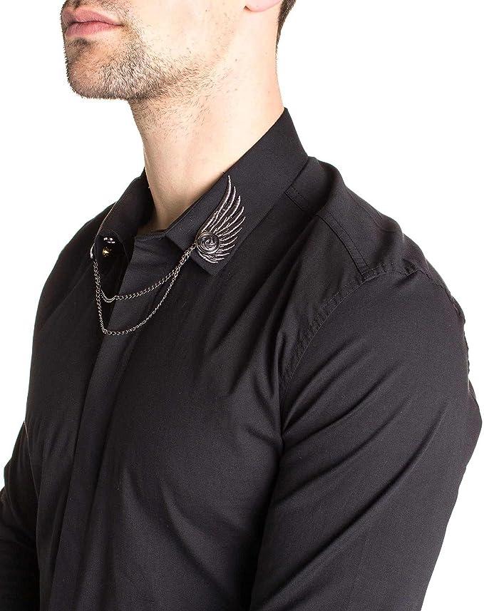 Chemise noir chaîne et broderies ailes stylé au col à manches ...