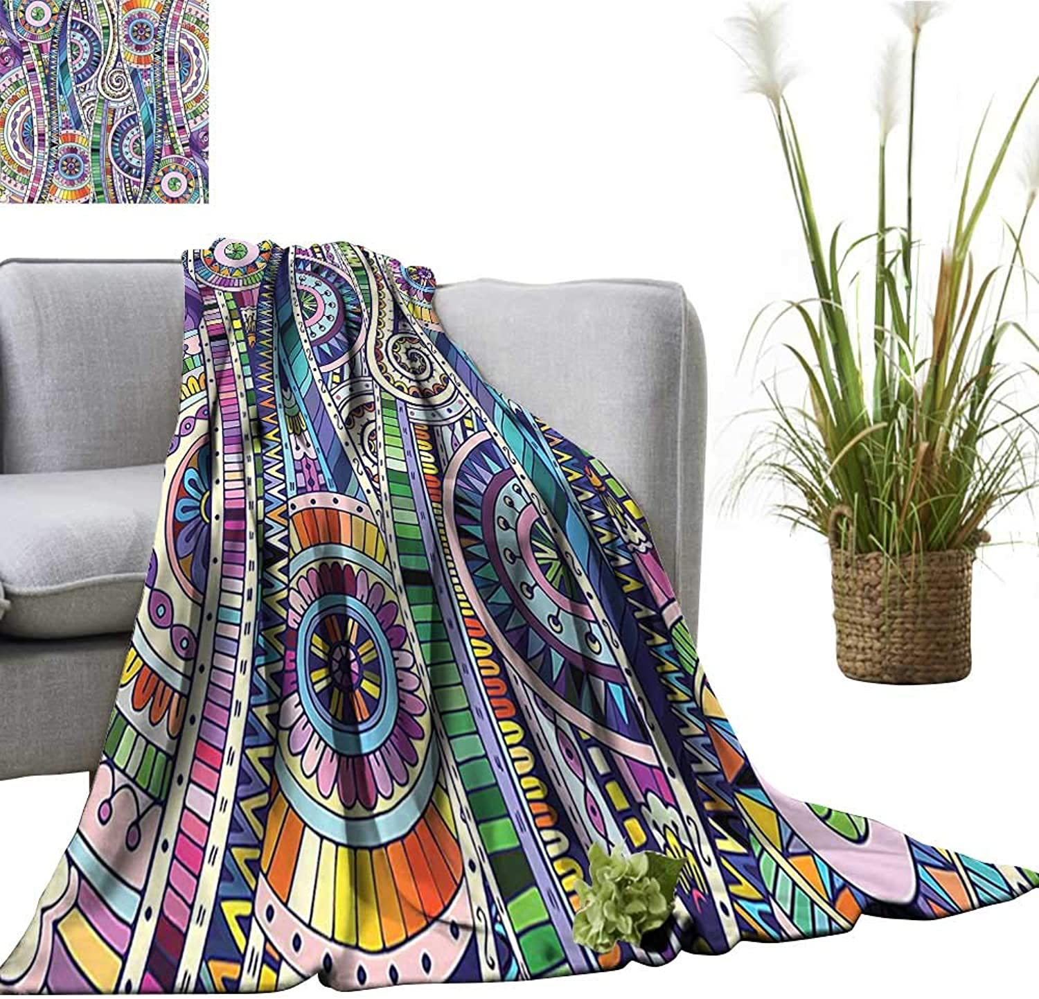 YOYI Baby Blanket Mosaic Style colorful Illustration Flower Pattern Ornamental Doodle Native Art Purple Gree Indoor Outdoor, Comfortable for All Seasons 50 x70