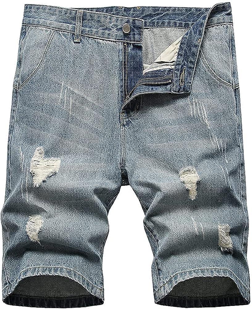 LONGBIDA Ripped Regular Fit Short Jeans Casual Denim Shorts