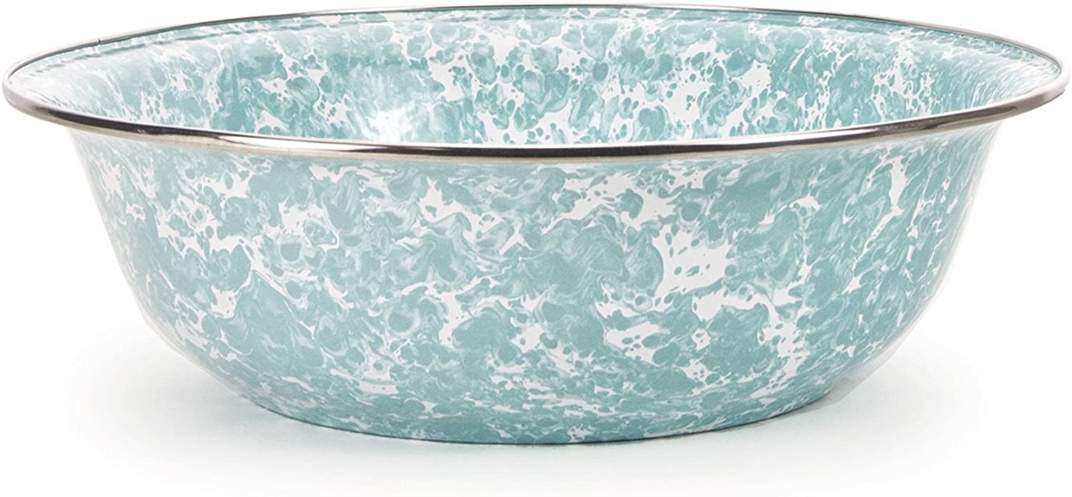 Enamelware - Sea Glass Teal Swirl Pattern - 13.5 Inch Round Serving Basin