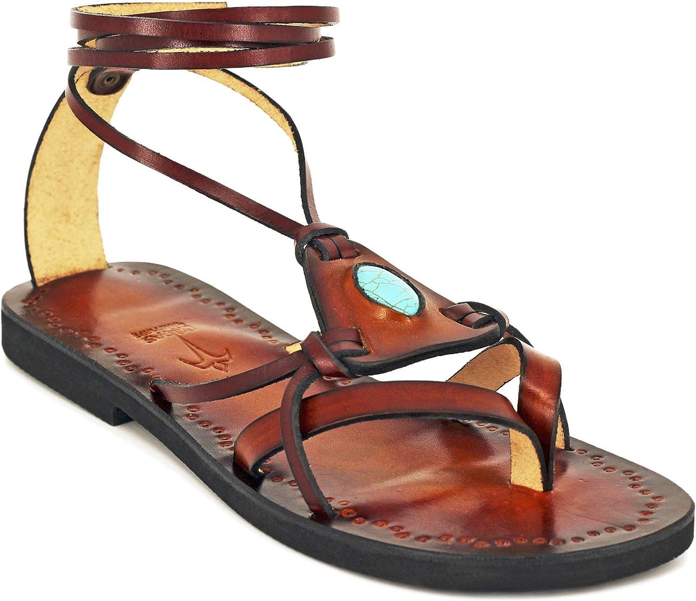Calpas Hippie Boho Turquoise Leather Sandals, Lace Up Handmade Flats - Fantasy Turquoise